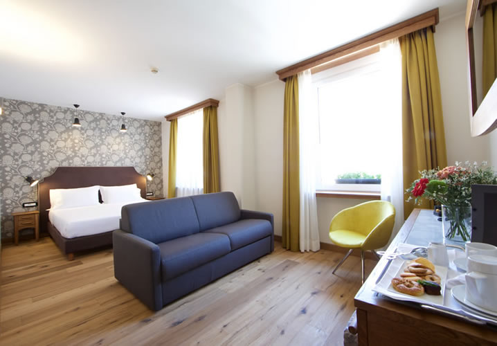 A typical bedroom in the Hotel Duca d'Aosta