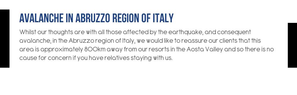 Avalanche In Abruzzo Region of Italy